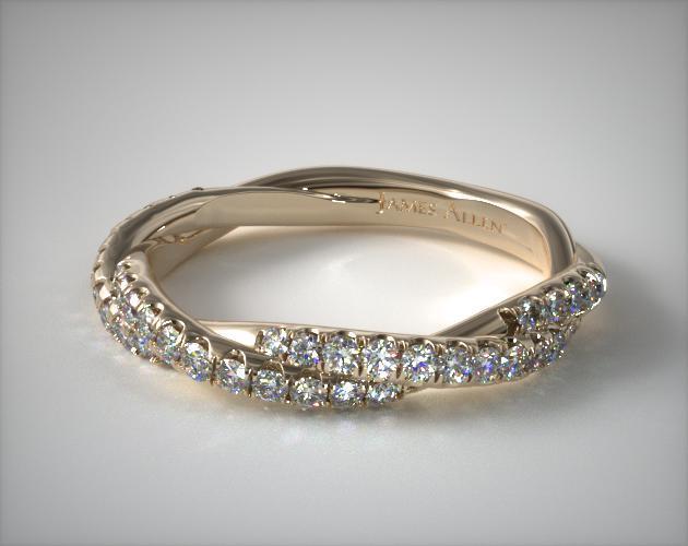 14K Yellow Gold Matching Pavé Rope Wedding Ring