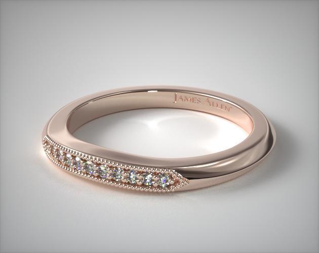 14K Rose Gold Modern Fleur-De-Lis Pave Matching Wedding Ring