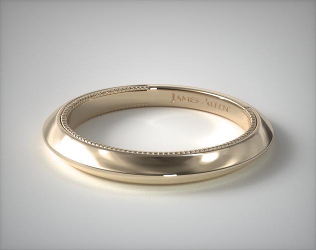 14K Yellow Gold Milgrain Scroll Matching Wedding Ring