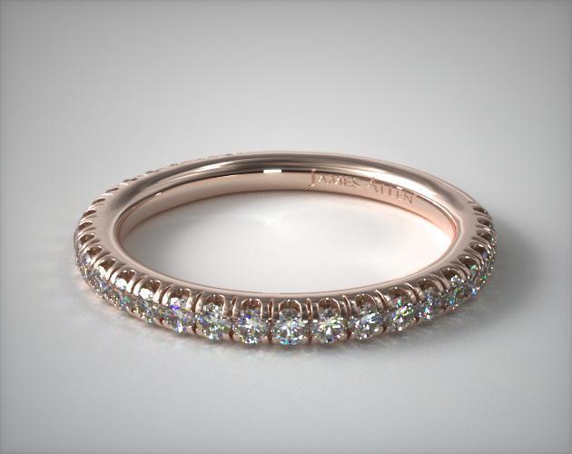14K Rose Gold Classic Pavé Diamond Matching Wedding Ring