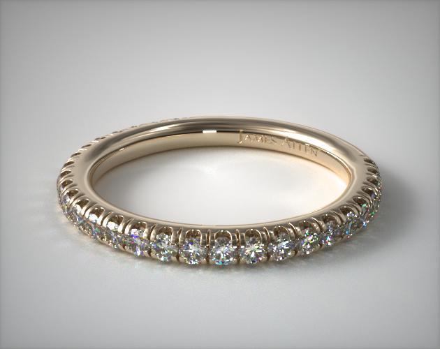 14K Yellow Gold Classic Pavé Diamond Matching Wedding Ring