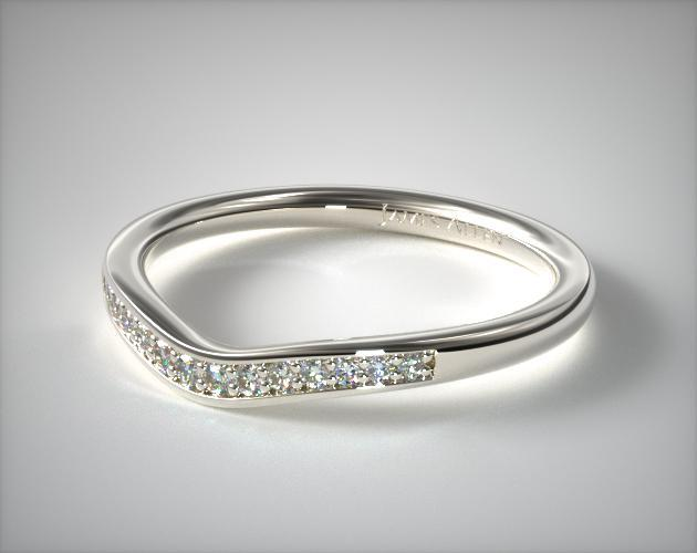 14K White Gold Petite Pavé Curved Matching Wedding Ring