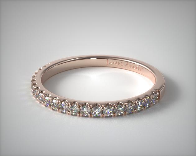 14K Rose Gold Thin Pave Set Diamond Wedding Ring