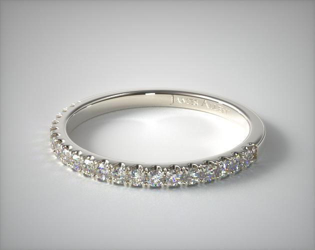 14K White Gold Thin Pave Set Diamond Wedding Ring
