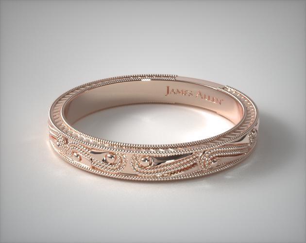 14K Rose Gold Engraved Wedding Band