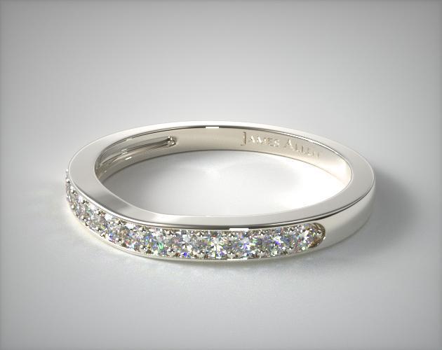 14K White Gold Floral Matching Wedding Ring