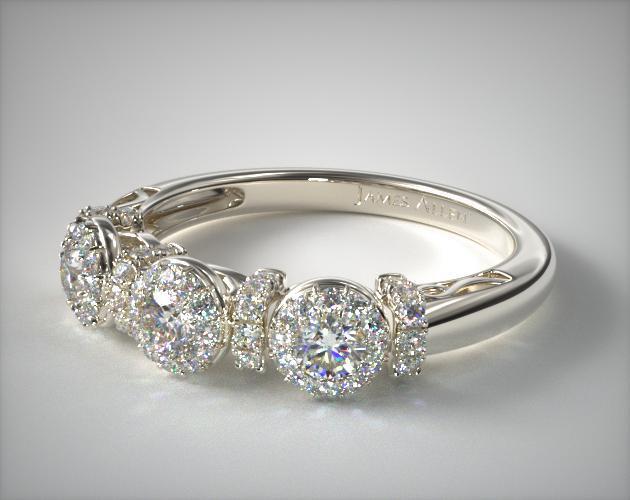 d4235d2faef5d Platinum Three Stone Sunburst Wedding Ring