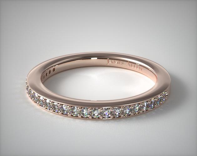 14K Rose Gold Bezel Set Matching Wedding Ring