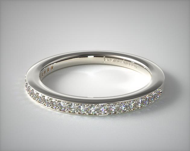 14K White Gold Bezel Set Matching Wedding Ring