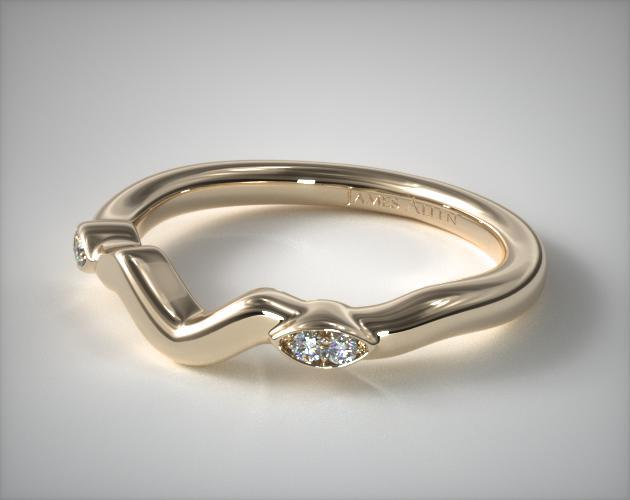 14K Yellow Gold Twisted Vine Matching Wedding Ring