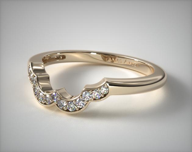 14K Yellow Gold Art Deco Inspired Matching Wedding Ring