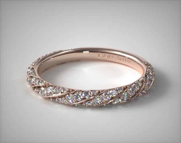 14K Rose Gold Twisted Pavé Wedding Ring