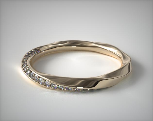 14K Yellow Gold Twisted Pave Wedding Ring