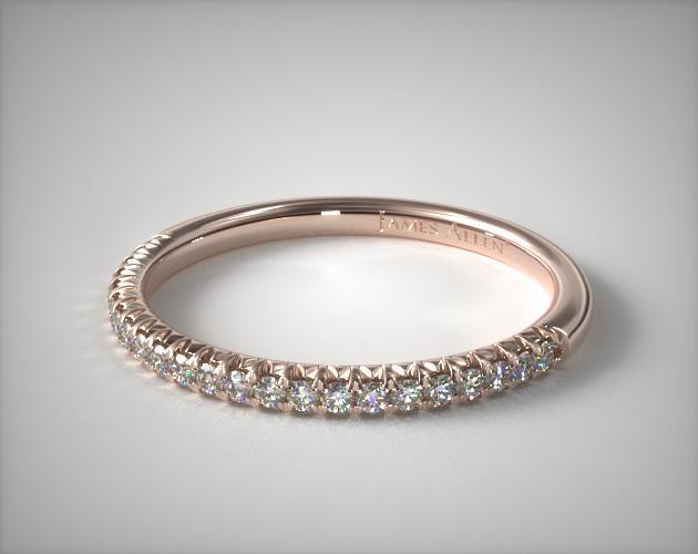 14K Rose Gold Flush Fit Pavé Wedding Ring
