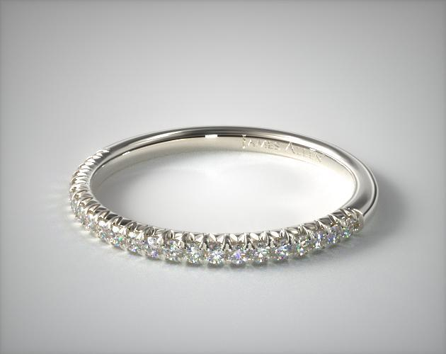 18K White Gold Flush Fit Pave Wedding Ring