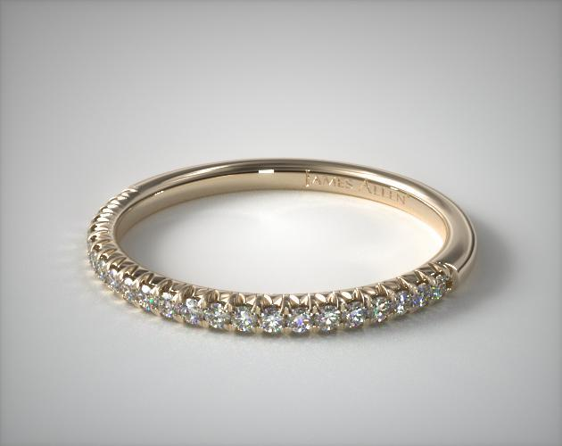 18K Yellow Gold Flush Fit Pave Wedding Ring
