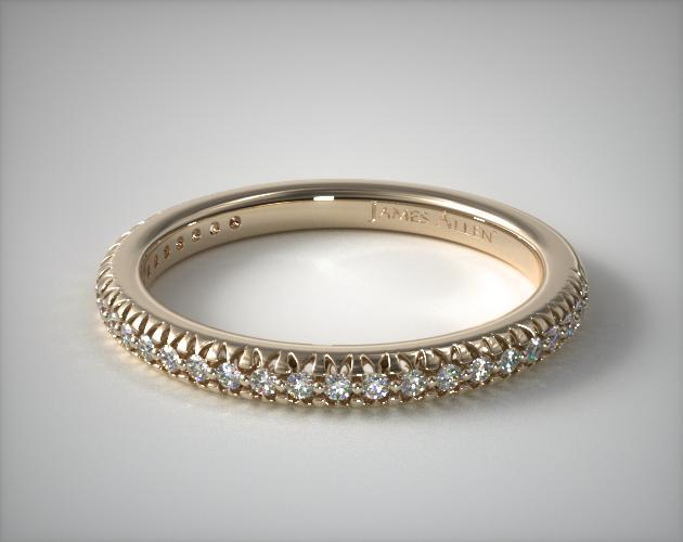14K Yellow Gold Matching Countour Pave Wedding Ring