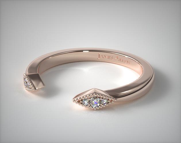 Wedding Rings Womens Stackable 14k Rose Gold Open Marquise Shape