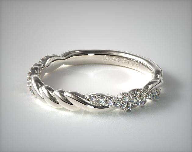 14K White Gold Knotted Pave Matching Wedding Ring