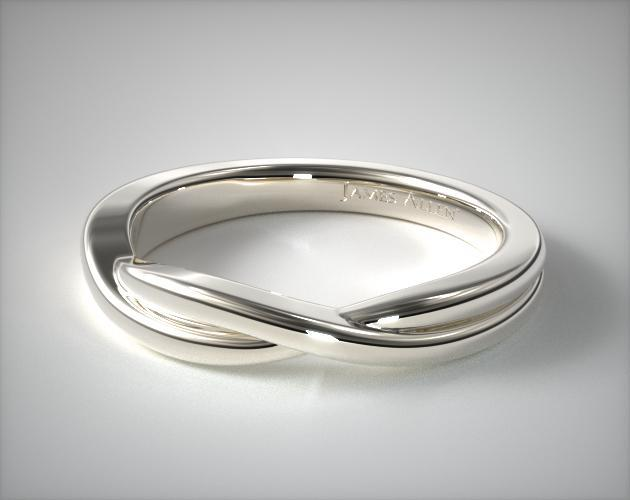 Wedding Rings Matching Bands 14k White Gold Intertwined Ring Item 63071