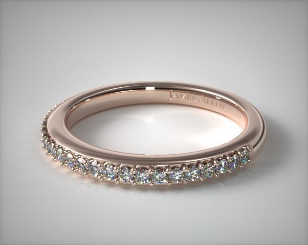 14K Rose Gold Twisted Pave Matching Wedding Ring