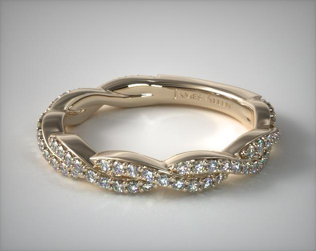 14K Yellow Gold Twisted Pave Leaf Matching Wedding Ring