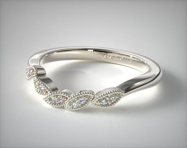 14K White Gold Entangled Vines Matching Wedding Ring