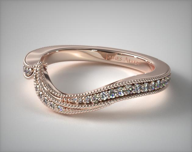 14K Rose Gold Nature Inspired Pavé Diamond Matching Wedding Ring
