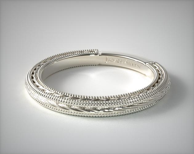 14K White Gold Etched Rope Band