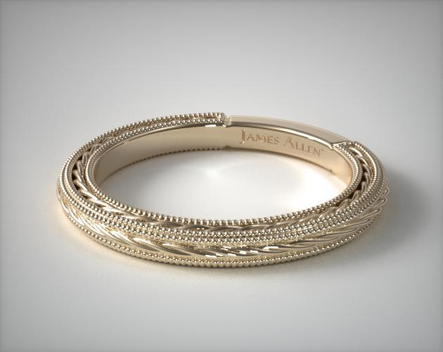 14K Yellow Gold Etched Rope Band