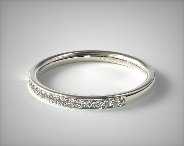 14K White Gold Bezel Set Bypass Matching Wedding Ring