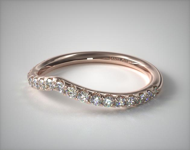 14K Rose Gold Petit Tiara Diamond Wedding Ring
