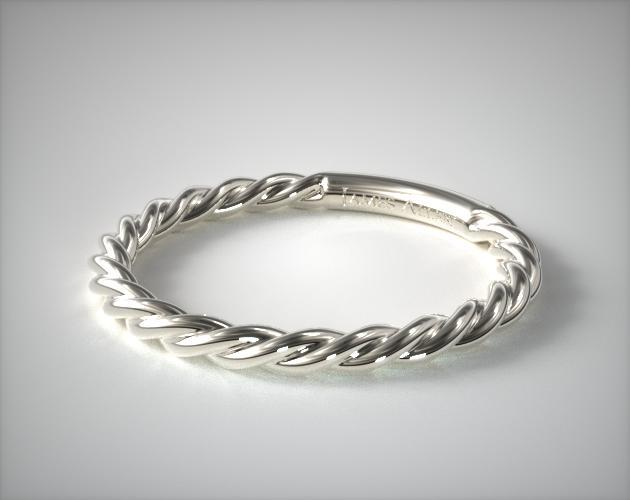 14K White Gold  Cabled Wedding Ring