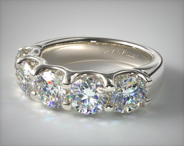 14K White Gold Five Stone Shared Prong Contour Diamond Ring (2.50 CTW)
