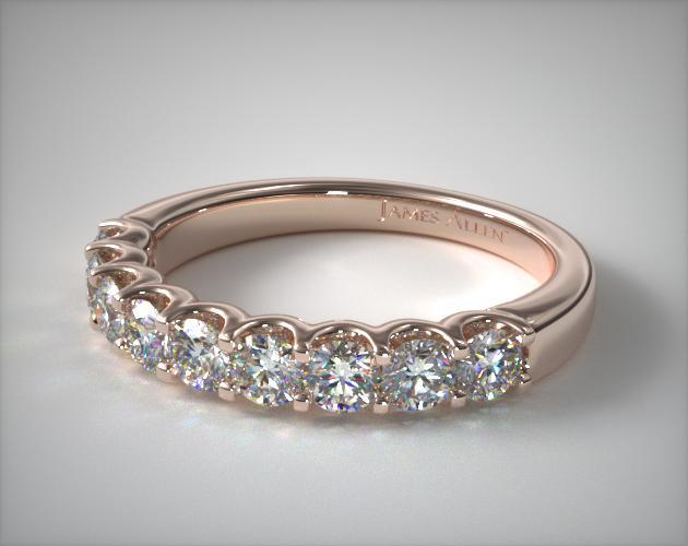 14K Rose Gold Nine Stone Shared Prong Contour Diamond Ring (0.50 CTW)