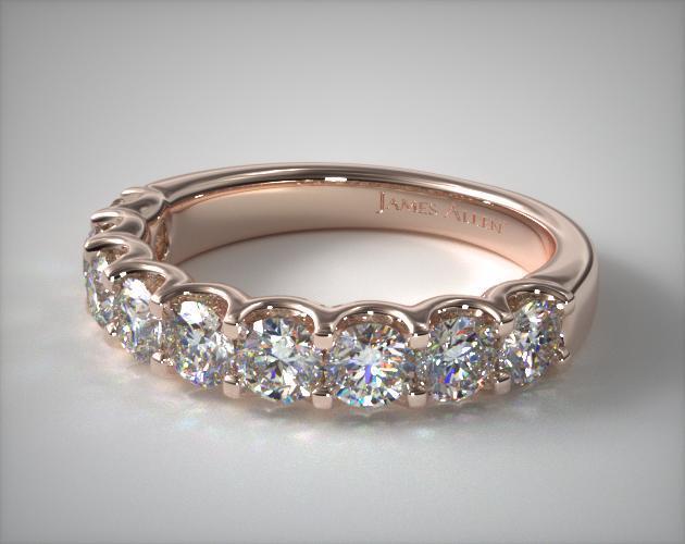 14K Rose Gold Nine Stone Shared Prong Contour Diamond Ring (1.00 CTW)