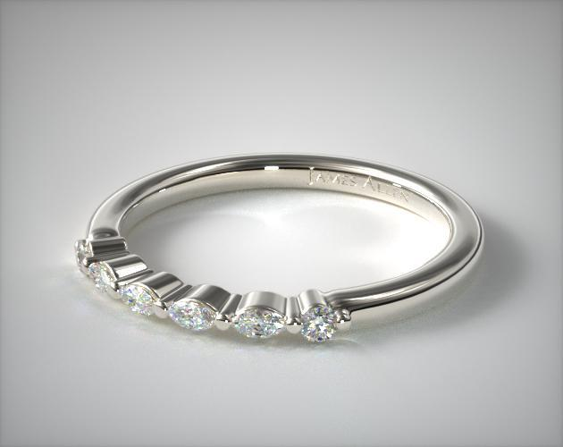 14K White Gold Marquise and Round Diamond Ring