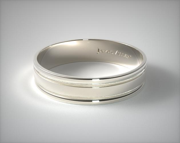 Platinum 6mm Milgrained Edge Comfort Fit Wedding Band