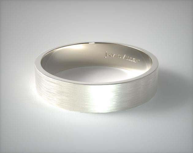 18K White Gold 6mm Flat Satin Finish Comfort Fit Wedding Band