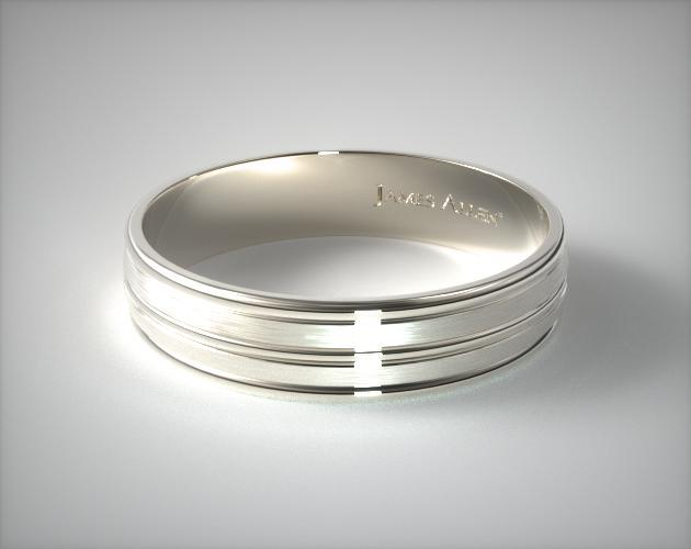 6mm Satin Finished Grooved Comfort Fit Wedding Ring Palladium 16237pd
