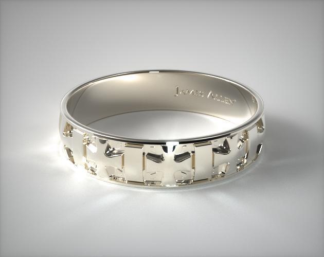 18K White Gold 6mm Iron Cross Comfort Fit Wedding Band