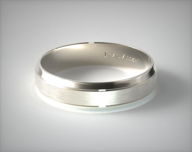 14K White Gold 6mm Etched Comfort Fit Wedding Band