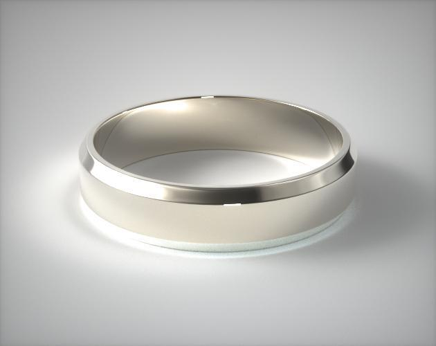 Platinum 6mm Beveled Comfort Fit Wedding Band