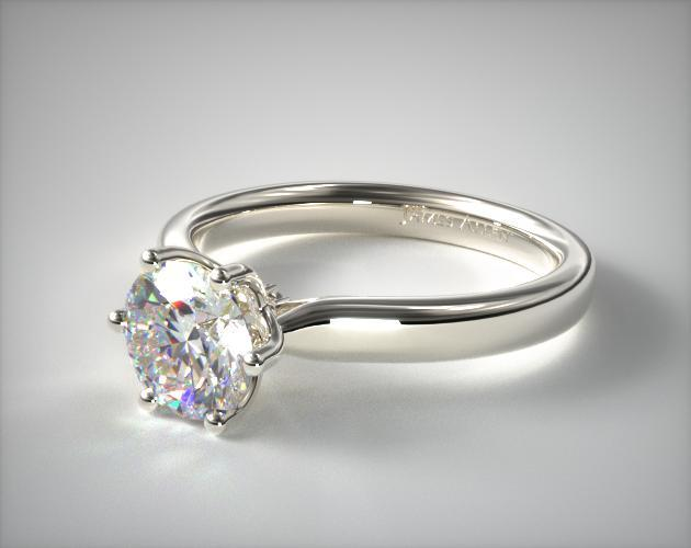 Intricate Basket Engagement Ring 14k White Gold 17018w14