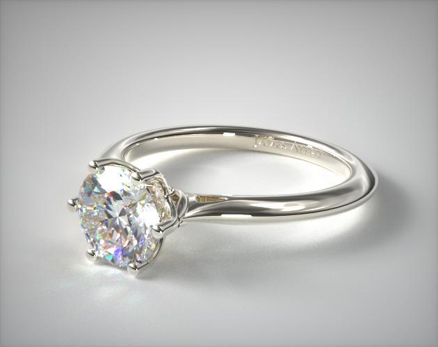14K White Gold Intricate Basket Knife Edge Engagement Ring