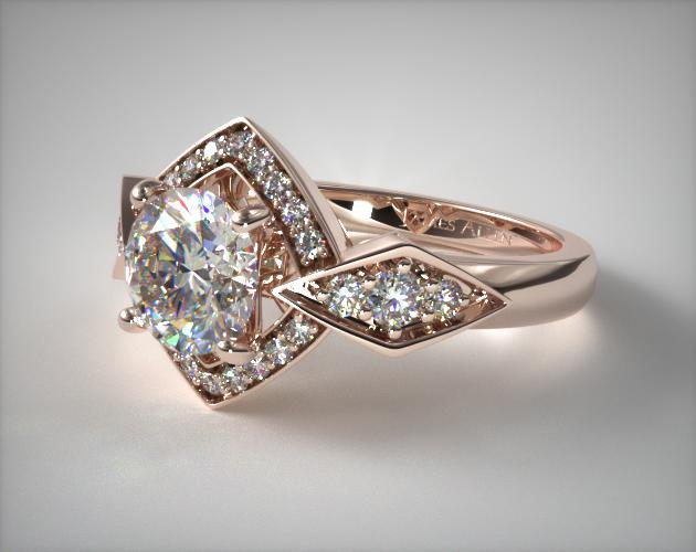 Art Deco Geometric Diamond Engagement Ring 14k Rose Gold