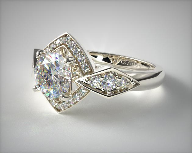 14K White Gold Art Deco Geometric Diamond Engagement Ring