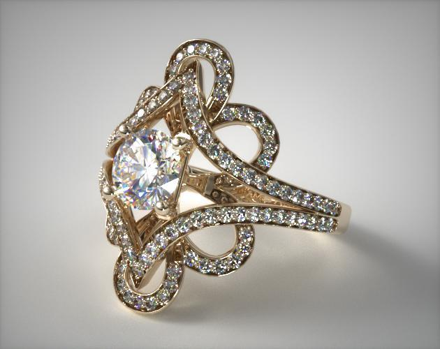 14K Yellow Gold Soft Floral Diamond Engagement Ring