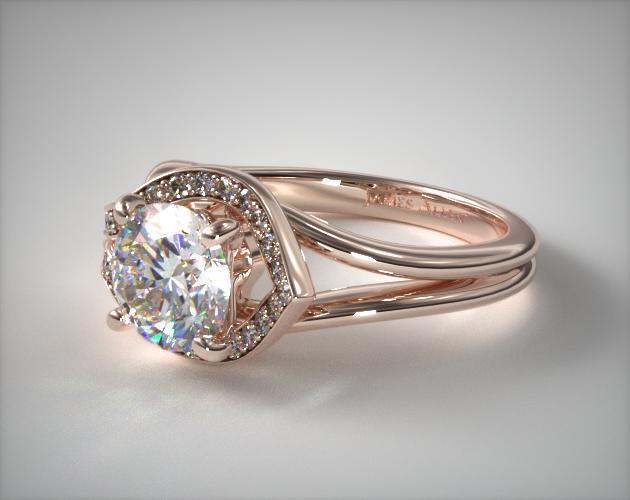 14K Rose Gold Asymmetrical Diamond Love Knot Engagement Ring