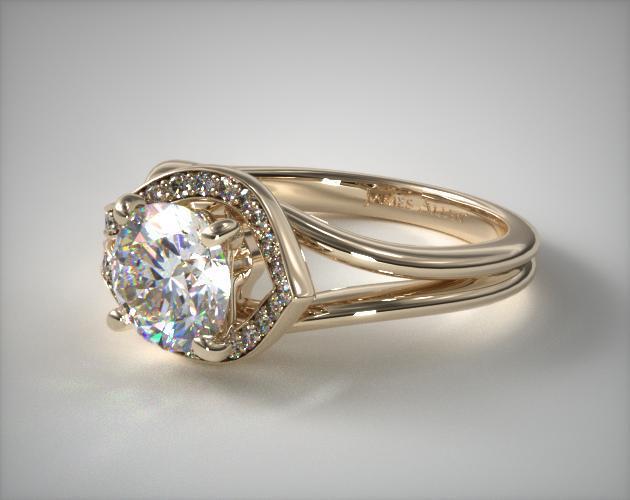 18K Yellow Gold Asymmetrical Diamond Love Knot Engagement Ring